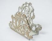 Letter Holder / Napkin Holder / Vintage Brass Antiqued in White / Art Nouveau Style / Desktop Decor / Kitchen Decor