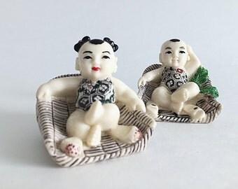 2 Happy Buddha Figurines Buddha Babies Hand Painted Asian Figurines