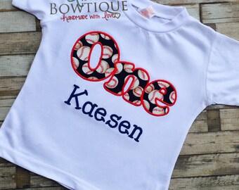 First Birthday Baseball Shirt- Birthday Baseball shirt- Baseball themed birthday party