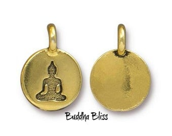 Two Meditating Buddha Charms Antique Gold TierraCast  Zen Yoga Buddhism