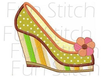 high heel wedge shoe applique machine embroidery design