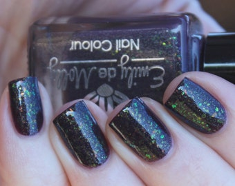 "Nail polish - ""Darker Days""  brown jelly with iridescent flakies and shimmer LE"