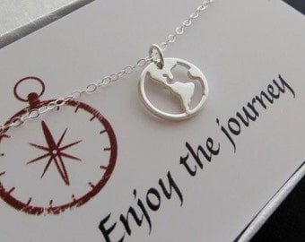 Globe necklace, earth necklace, sterling silver world charm necklace, world peace
