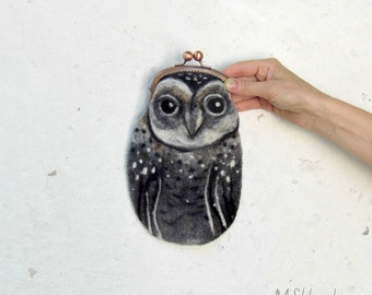 Barn OWL Wet Felted  coin purse with bag frame metal closure