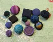 Lot of antique passementerie cloth button assorted dark blue purple shades dolls intricate covered multi thread ribbonwork  trim  wide