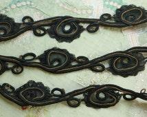 "1 yard Antique metal silk soutache trim black gold 1.25"" wide lace passementerie flapper ribbonwork trim dolls france"