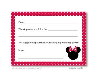 Minnie Inspired PRINTABLE Fill-in-the-Blank Thank You Note