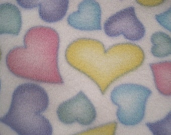 Hearts in Pastels on White with Lavendar Fleece Blanket - Ready to Ship Now