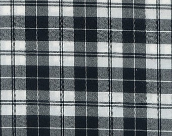 Black and White Plaid Woven Cotton Shirting, 1 Yard