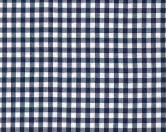Navy and White Plaid 1/4 inch Checked Gingham, Robert Kaufman Carolina Gingham, 1 Yard