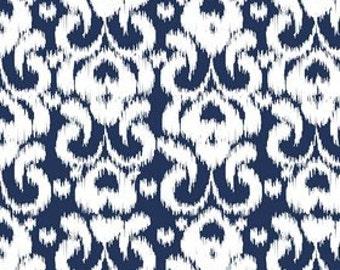 Navy Blue and White Ikat Jersey Knit Fabric From Riley Blake Basics, 1 Yard