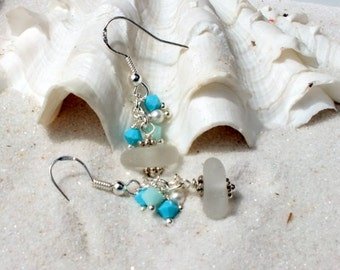 GENUINE Beach Glass Earrings -  Lake Erie Beach Glass -  Pierced Earrings