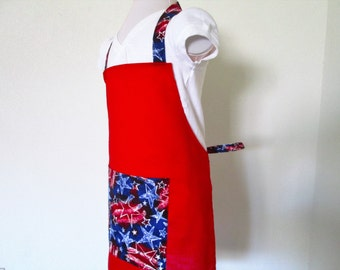 Childrens Apron - SALE - Red White and Blue Stars, Cherry red background and stars on the pocket, neck and waist straps