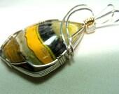 Rare BUMBLE BEE Jasper Pendant in STERLING Silver w/ Gold Trim