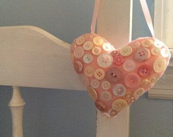 Vintage Button Valentine Heart Decoration