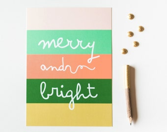 Merry and Bright 5x7 Christmas Print