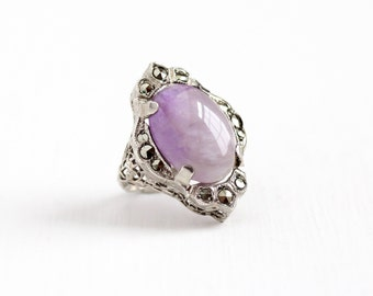Sale - Vintage Art Deco Sterling Silver Amethyst & Marcasite Filigree Ring - 1920s Size 4 3/4 Statement Purple Gem Cabochon Flower Jewelry