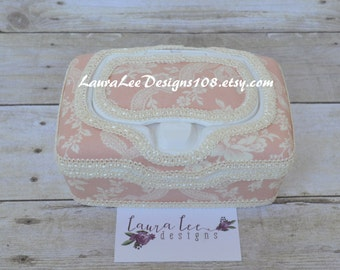 Vintage Inspired Dusty Light Pink Floral Medium Wipe Case, Flushable Wipes, Flower Feminine Wipes, Cloth Wipes, Make Up Remover Wipe Case