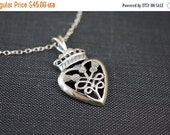 14OFFSALE Necklace, Thistle Necklace, Heart Necklace, Scottish Thistle, Celtic Necklace, Royal, Sterling Silver, Irish, No. NS125