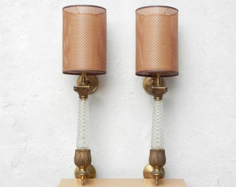 Pair Ornate Elegant Mid Century Regency Brass & Glass Tall Wall Sconces with Modern Shades