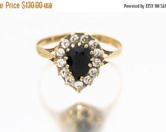 CIJ SALE Vintage Ladies Sapphire CZ Engagement Cluster Ring Teardrop Pear 9ct 9k Yellow Gold | Free Shipping | Size N.5 / 7