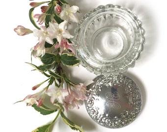 1950's Houbigant Dusting Powder Jar - Glass Boudoir Dressing Table Pot