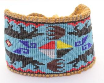 Warrior's Journey Beaded Wolf and Bear Medicine Bracelet on Tan Deer Hide for Men and Women