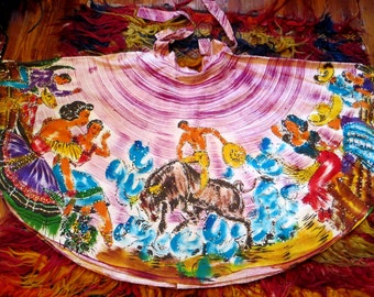 SALE  Outrageous 50s Hand Painted and Sequinned Mexican Circle Skirt, Larger Size
