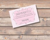 Pink Stripes Diaper Raffle Cards Baby Girl Twin Girls Pink and White Baby Shower Diaper Raffle Tickets - INSTANT DOWNLOAD