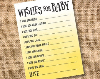 Wishes for Baby Yellow Ombre Printable Baby Shower Baby Boy Twins Girl Yellow Watercolor Baby Wishes Advice Card Sunshine INSTANT DOWLOAD