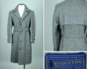 vintage PENDLETON mens tweed coat • 1970s belted gray wool coat