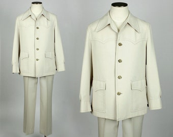 1970s leisure suit • SIZE 44 • ivory  contrast stitch disco suit