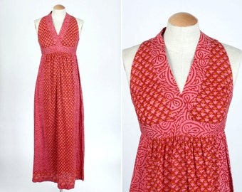 boho 1970s indian cotton sundress • pink & red hippie maxi dress
