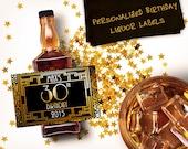 Custom Mini Bottle Birthday Favors Personalized Liquor Labels and Empty 50 mL Bottles 30 40 50 60 Adult Birthday Great Gatsby EB-1094