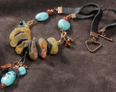 Ponderosa necklace: rough amber nuggets, turquoise, leather, red jasper, copper