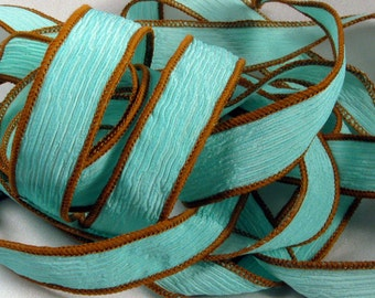 Silk Ribbons, Hand Dyed Silk Ribbons - Crinkle Silk Jewelry Bracelet Fairy Ribbon - Quintess - Navajo