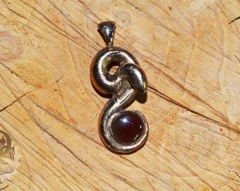 Li'l Serpent Pendant Bronze and Carnelian