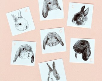 "Temporary ""Bunny Tatts"" Tattoos - Set of seven cool fake rabbit tatts quick bun waterproof non toxic tats for kids Cute festival fun"