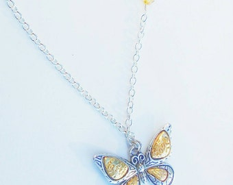 Butterfly Necklace - Silver and Gold Necklace - Statement Necklace - Inspirational Necklace - Faith Necklace - Hope Necklace
