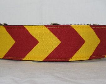 Chevron Martingale Dog Collar - 1.5 or 2 Inch - mustard yellow maroon burgandy red stripes