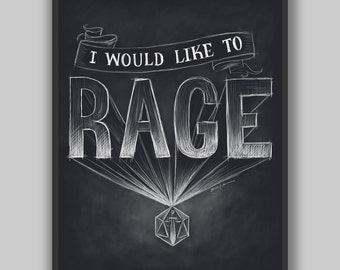 Critical Role - I Would Like to Rage - Print - Dungeons and Dragons Typography