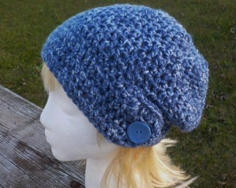 Womens Hat BLue Beanie Hand Crochet Slouch Hat Teen Denim Blue Slouchy Hat with side Flap
