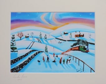 Northern lights winter folk art landscape mounted print Gordon Bruce