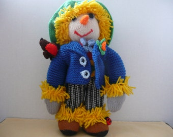 REDUCED - Knitted Scarecrow Stuffed Toy - Scarecrow Doll - Jean Greenhowe Doll - Stuffed Animal