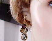 SHOP CLOSING SALE: Ashira 50 Shades of Grey, Purple, Olive Gold Drop Earrings Tanzanite or Black Diamond Grey