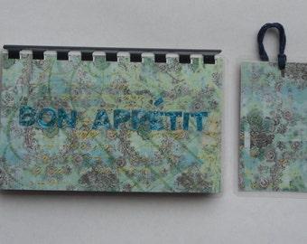 Handmade Blue Bon Appetit Blank Recipe book