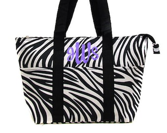 Personalized Insulated Lunch Tote Black & White Zebra Print BlackTrim