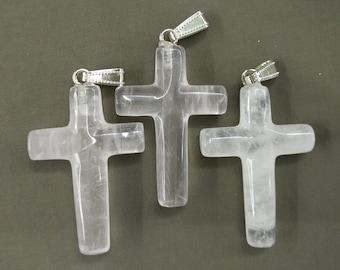 5pcs Clear Crystal Quartz Cross Pendant 8x28x42mm- silver tone bail