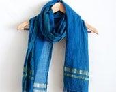 Indigo + Gold Fair Trade Handwoven Cotton Scarf
