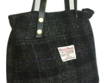 Harris tweed purse bag handbag black grey purple  wool woman girl gift tartan made in Scotland plaid Scottish